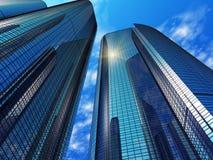 reflekterande modernt kontor för blåa byggnader Royaltyfri Foto