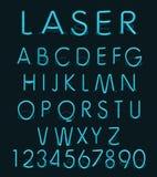 Reflekterar blått ljust exponeringsglas för vektorn laser-neonalfabet stock illustrationer