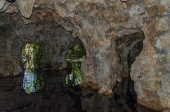 Reflekterat i vattenstenbågar av underjordiska tunneler Royaltyfri Foto