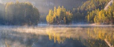 reflekterat vatten för höst skog Färgrik höstmorgon i bergen royaltyfria bilder