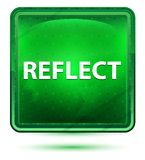 Reflektieren Sie hellgrünen quadratischen Neonknopf lizenzfreie abbildung