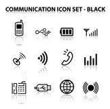 Reflektieren Sie Kommunikations-Ikonen-Set Stockfoto