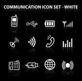 Reflektieren Sie Kommunikations-Ikonen-Set Lizenzfreie Stockfotos
