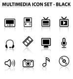 Reflektieren Sie Multimedia-Ikonen-Set Lizenzfreies Stockfoto