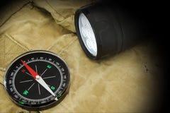 Reflektor i kompas na plecaku Obraz Stock