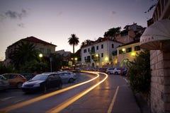 Reflektory samochód na miasto ulicie Zdjęcie Royalty Free