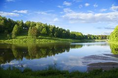 Reflexão azul no rio na floresta do verão foto de stock