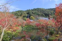 A reflexão bonita de cores do pagode e do outono de Tohoto sobre o templo japonês do budismo da lagoa o nomeou o templo de Eikand imagens de stock