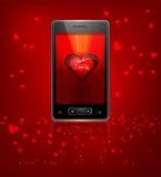 Reflexão bonita de Valentine Cell Phone colorida com corações ilustração do vetor
