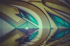 Reflexão colorida abstrata dos grafittis na água Foto de Stock