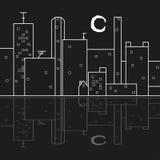 Reflexão da cidade do papel de parede da lua da noite Ilustração Stock