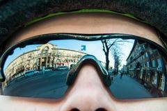 Reflexão da cidade nos vidros Imagens de Stock Royalty Free