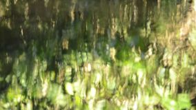 Reflexão da luz solar na superfície da água que flui no rio filme