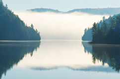 Reflexão da névoa da manhã que aumenta no lago