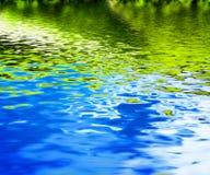Reflexão da natureza verde em ondas de agua potável