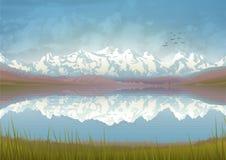 Reflexão da paisagem da montanha ilustração royalty free
