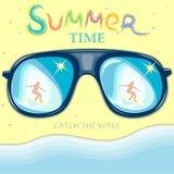 Reflexão da ressaca- da menina nos óculos de sol Ilustração-h do vetor Foto de Stock Royalty Free