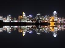 Reflexão da skyline de Cincinnati foto de stock royalty free