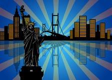 Reflexão da skyline de New York City na noite ilustração do vetor