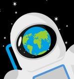 Reflexão da terra do astronauta e do planeta do capacete tampão do cosmonauta ilustração royalty free