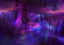 Reflexão das árvores com estrelas Fotos de Stock Royalty Free