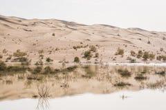 Reflexão das dunas de areia no lago próximo a Chupanan em Irã fotos de stock