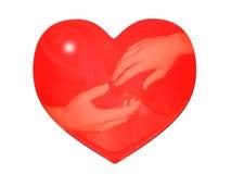 Reflexão das mãos no coração Fotografia de Stock