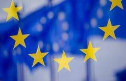 Reflexão de bandeiras de UE Fotos de Stock Royalty Free