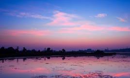 Reflexão de cores e de nuvens do amanhecer imagens de stock