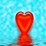 Reflexão do coração na água   Ilustração Royalty Free