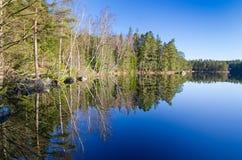 Reflexão do lago april na Suécia Imagem de Stock