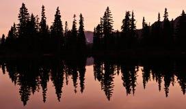 Reflexão do lago com a silhueta das árvores Fotos de Stock Royalty Free