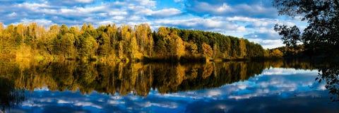 Reflexão do lago da floresta do outono imagens de stock royalty free
