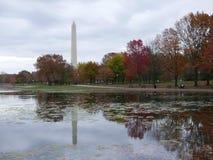 Reflexão do outono das árvores e do monumento de Washington imagens de stock royalty free