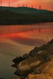 Reflexão do por do sol em Bethany Reservoir fotos de stock