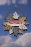 Reflexão do sinal bem-vindo e do céu Fotografia de Stock