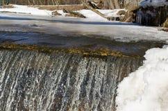 Reflexão do sol do brilho da água da borda do gelo da cachoeira Foto de Stock