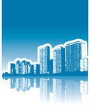 Reflexão dos edifícios da cidade ilustração do vetor