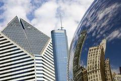 Reflexão dos edifícios de Chicago Fotografia de Stock