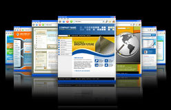Reflexão dos Web site do Internet da tecnologia do Web ilustração stock