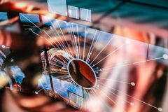 Reflexão eletrônica do espaço cor-de-rosa do starburst do diodo emissor de luz Foto de Stock