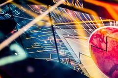 Reflexão eletrônica do espaço de Starburst com planeta vermelho Fotografia de Stock