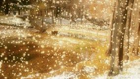Reflexão na água, licença da floresta e da ponte do metasequoia que flutua no lago, ondinha, neve ilustração do vetor