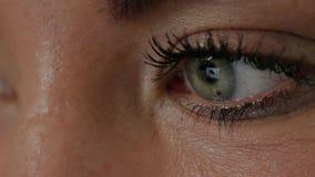 Reflexão nos olhos da jovem mulher: olhando um local vídeos de arquivo