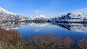 Reflexão perfeita da superfície da água no lago Hayes Fotos de Stock Royalty Free