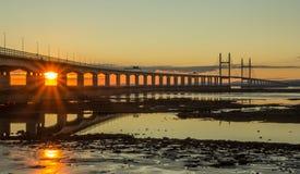 Reflexão Severn Bridge fotografia de stock