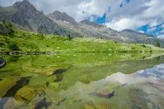 Reflexões da água da montanha, natureza pura em pyrenees de spain foto de stock royalty free