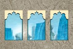 Reflexões da janela de Dubai fotografia de stock