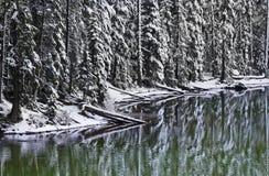 Reflexões da neve do inverno no lago Oregon devil imagem de stock