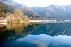 Reflexões no dia de inverno frio e nevoento pelo lago imagem de stock royalty free